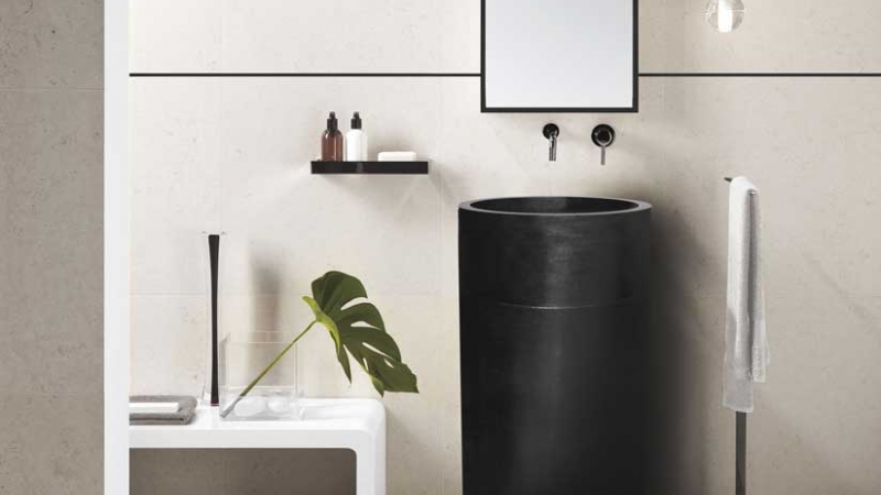 Furnishing a modern (trendy) bathroom with decorative aluminum strips for tiles